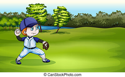 A young baseball player at the field near the river