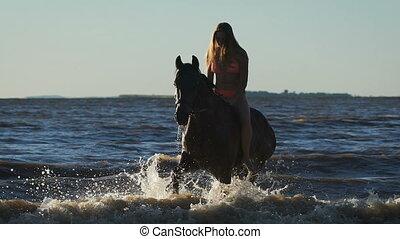 A young beautiful blonde woman in bikini in the sea riding a brown horse. Trotting
