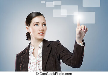 making choice - a young beautiful businesswoman making...