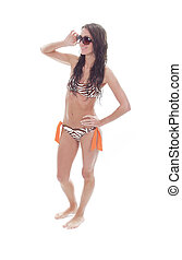A young beautiful female with bikini clothes