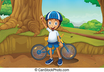 A young biker in the forest