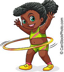 A young black girl playing with the hulahoop