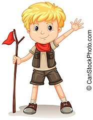 A young blonde Boy Scout