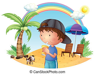 A young boy at the beach with his pet