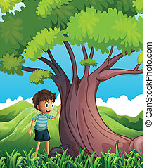A young boy beside the huge tree - Illustration of a young...