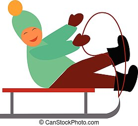A young boy enjoying a sledge ride on the snow-covered path vector color drawing or illustration