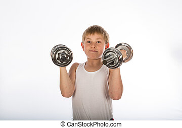 boy exercising with two dumbbells