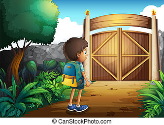A young boy going to the school
