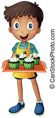Illustration of a young boy holding a tray with cupcakes on a white background