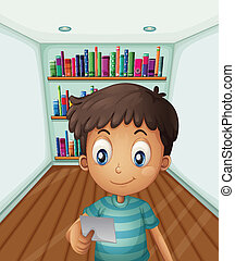 A young boy in front of the bookshelves