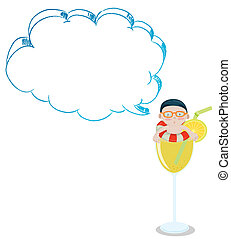 A young boy inside a glass with an empty cloud template
