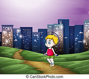 A young boy playing across the tall buildings in the city