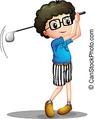 A young boy playing golf