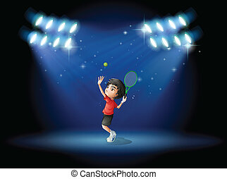A young boy playing tennis at the stage