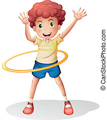 A young boy playing with the hulahoop