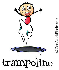 A young boy playing with the trampoline