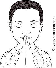 A Young Boy Praying