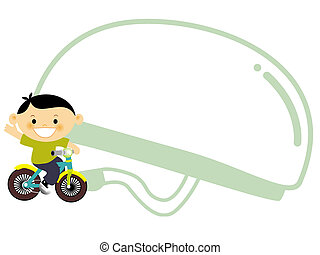 A young boy riding a bike with a large helmet behind him
