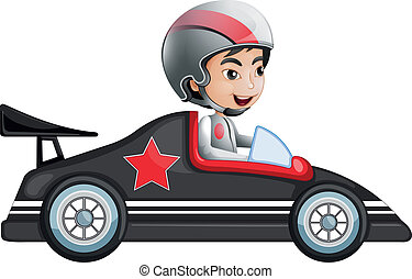 A young boy riding in his racing car - Illustration of a...