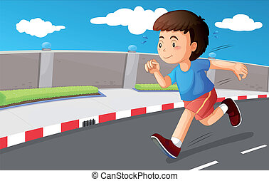 A young boy running at the street