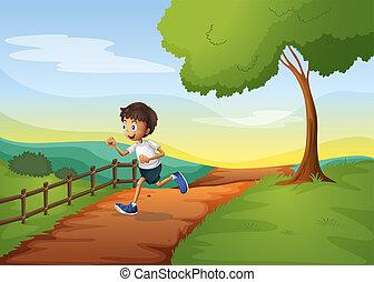 A young boy running
