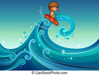 A young boy surfing