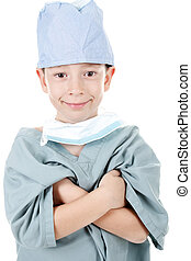 Young boy wearing as surgery doctor