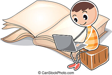 A young boy with a laptop near the big book
