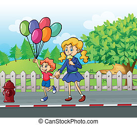 A young boy with balloons and a girl eating an ice cream