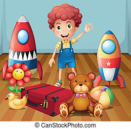 A young boy with his toys inside the room - Illustration of...