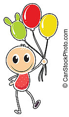 A young boy with three balloons