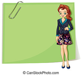 A young business girl in front of the empty template