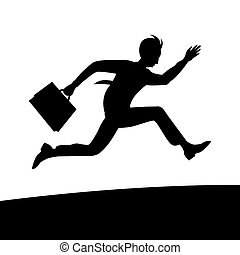 A young business man in a tie and with a briefcase in hand is in a hurry