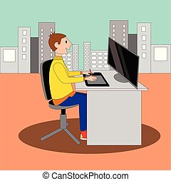 young business person working on computer with graphic tablet