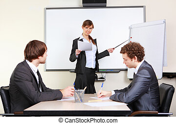 a young business woman making presentation