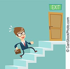 A young businessman going upstairs steadily. Concept of career growth.
