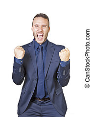 businessman shouts for success - a young businessman shouts...