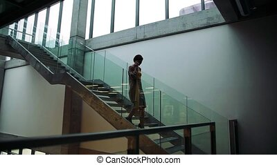 A young businesswoman with telephone walking down the stairs...