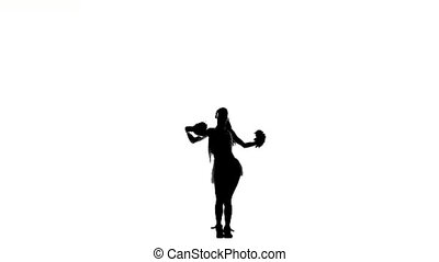 A young cheerleading, pom-pom isolated on white