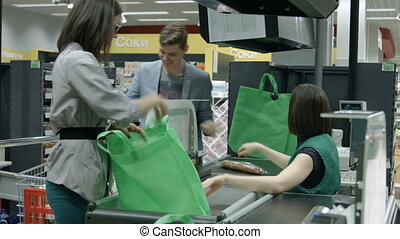 A young couple goes shopping
