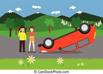 young couple has an accident with a red car
