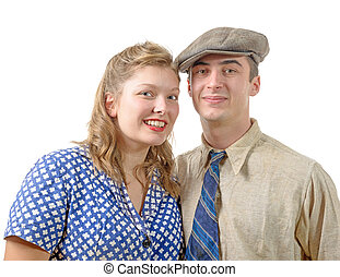 young couple in vintage clothing, 40s