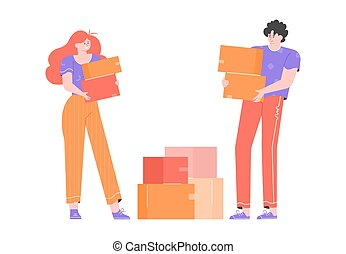 A young couple moves to a new home.