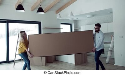 A young couple moving in new home, carrying a large box.