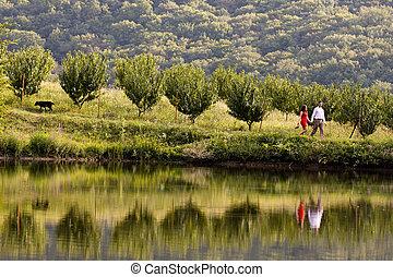 A young couple walks along the lake shore