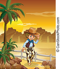 A young cowboy at the desert - Illustration of a young...