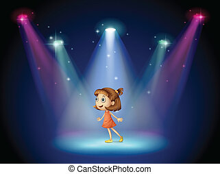 Illustration of a young dancer at the center of the stage