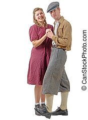 young dancers couples in vintage clothing, 40s