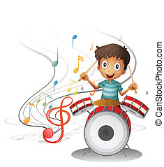 A young drummer smiling - Illustration of a young drummer...