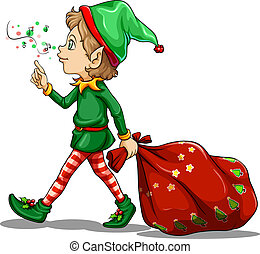 A young elf dragging a sack of gifts